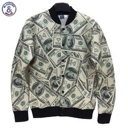 Бумажные доллары онлайн-2017 г-н 1991INC новый стиль мужчины / женщины куртка 3D смешно печати бумажные деньги доллары Вашингтон 3D куртка студент колледжа униформа