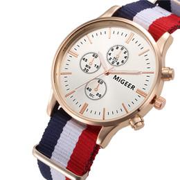 Wholesale mens canvas watches - 2018 fashion rainbow design mens women Canvas bracelet watch 3 eyes unisex ladies casual business sport quartz wrist watches
