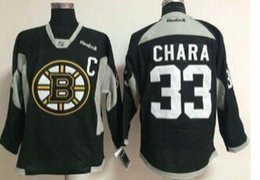Jersey negro de la práctica del hockey online-Nuevo estilo para hombre Boston Bruins # 33 Zdeno Chara Negro práctica cosido hockey Jersey venta caliente