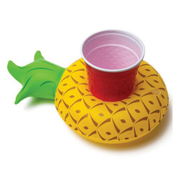 Wholesale Inflatable Toys For Women - Floating Inflatable Drink Can Call Phone Holder Yellow Pineapple PVC Beach Pool Toy For Birthday Party Decorations