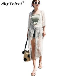 Wholesale Sunscreen Lace - Women Sexy Lace Embroidery Blouses Sunscreen shirt Beach Blouses Summer Lace Tops and