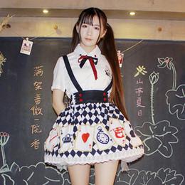 mulheres vestido colonial Desconto Primavera e outono japonês irmã suave estilo colégio bonito camisa xadrez cinta saia curta terno das mulheres dois conjuntos