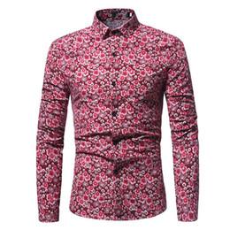 bb4a3bc709e Vintage Flower Print Male Shirt Fashion Man Big Size Club Shirts 2018  Spring Long Sleeve Slim Blouse New Arrival Men Blusa vintage floral shirts  men for ...