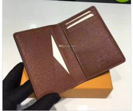 Wholesale real gold credit card - Excellent Quality Pocket Organiser NM damier graphite M60502 mens Real leather wallets card holder N63145 N63144 purse id wallet bifold bags