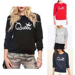 2019 coroas para rainhas Outono Inverno Mulheres Rainha Mulheres Crown Impresso Camisola Hoodies Manga Longa Tops de Racksuit coroas para rainhas barato