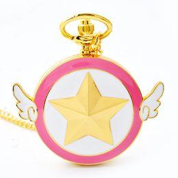 Relógio quartzo asa on-line-Atacado 50 pçs / lote ashion Adorável Rosa de Quartzo Relógio de Bolso Anime Star Wings Magia Bolso Relógios Colar Cadeia Meninas Senhoras relógios PW033