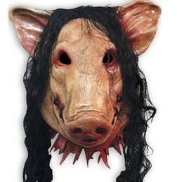 Gummi-schweinkopf online-Gruselige Cosplay Schwein Kopfmaske Kopfbedeckungen Halloween Kostüm Theater Prop Für Party Make Up Schmücken Schwein Masken Latex