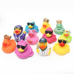 Wholesale Toy Boat Bath Water - Baby Bath Toys 11pcs Soft Rubber Duck Animals Car Boat Kids Water Toys Squeeze Sound Spraying Beach Bathroom For Children