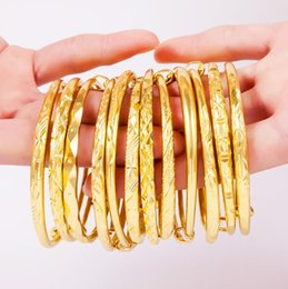 Fio de latão banhado a ouro on-line-Pulseira de bronze 18 k placa de ouro 10 estilos Pulseira de presente de jóias pulseiras de Fio pode ajustar o charme para amar pulseira acessórios fio expansível