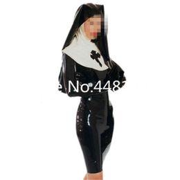 Sexy noir avec l'uniforme de reine des religieuses en latex blanc avec capuche robe en caoutchouc exotique unique Cosplay, plus la taille halloween gants chapeau ? partir de fabricateur
