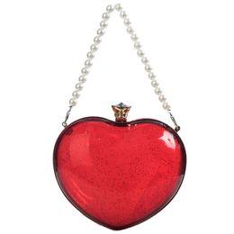Мода Перл Chain Tote Акриловые Heart Shaped Ladies Chain Кошелек Party Сумка Сумка Сумка Tote Crossbody Mini Messenger cheap heart shape tote bags от Поставщики сумки с сердечком