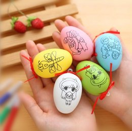 Wholesale Hand Decor - Easter Eggs Decor Kids DIY Hand-painted Graffiti Egg Party Supplies Easter Decoration DIY printing pattern Egg KKA4457