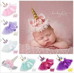 Wholesale Dress Shoes Girl Bow - New Unicorn sets girl skirts+Unicorn Hair Sticks + shoes Girls Birthday tutu skirt sets stereo flower bow princess skirts sets unicorn dress