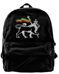 lion canvas print Coupons - Rasta Lion Of Judah Unisex Vintage Canvas Backpack Travel Rucksack Laptop Bag Daypack Black