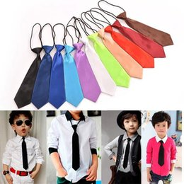 Wholesale elastic neckties - KidsToddle Tie Baby School Boy Wedding Necktie Neck Tie Elastic Solid Color Satin 23 Colors DDA475
