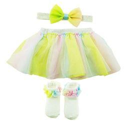 Girls lace dress socks on-line-Meninas Lace Tutu Vestido Pastel Rainbow Flor Princesa 4 pçs / lote Meninas Vestidos Curtos Headband Meias Vestido de Festa de Aniversário Crianças Crianças Salão
