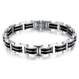 77f52d65f617 Silver Black Color Fashion Simple Men s Silicone Bangle Stainless Steel  Bracelet Watchband Jewelry Gift for Men Boys 830
