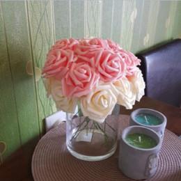 Wholesale new scrapbooking supplies - New Colorful Artificial PE Foam Rose Flowers Bride Bouquet Home Wedding Decor Scrapbooking DIY Supplies white Beige