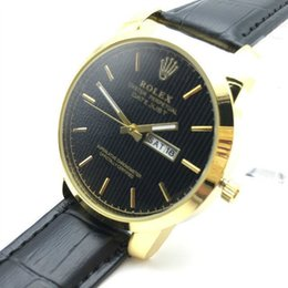 Wholesale Dressing Waterproof - 43 mm Dial Swiss Luxury Brand RO Men's calendar watch 3ATM Waterproof High Quality Leather Band Replica Watch For Man Fashion Dress Watches