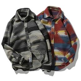 Vestidos de lã vintage on-line-Camisas de flanela Folk-custom Camisas para Homens Lã Vintage Lazer Padrão vestido casual Camisa Dos Homens Plus Size Streetwear