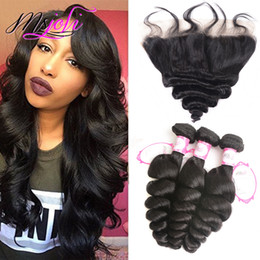 wholesale silky hair Coupons - 9A Brazilian Loose Wave Virgin Human Hair Bundles With Frontal 13X4 Ear To Ear Lace Closure With Bundles Remy Body Wave Silky Straight Hair