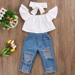 Wholesale girls denim pants - 3PCS Set Cute Baby Girls New Fashion Children Girls Clothes Off shoulder Crop Tops White+ Hole Denim Pant Jean Headband 3PCS Toddler Set