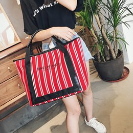 Wholesale Rainbow Dress Red - Fashion Women's Canvas Handbag Beach Bag Colorful Rainbow Strip Shopping Bags Big Tote Bags Travel Shoulder Bags 37x14x33cm With Purse