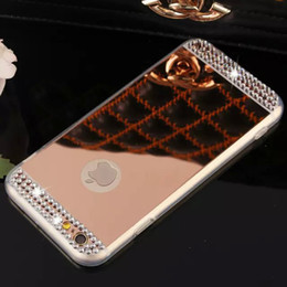Wholesale Rhinestone Cases For Iphone 5s - Bling Shining Diamond Rhinestone Electroplating Mirror TPU Silicone Soft Case Cover For iPhone X 8 7 Plus 6 6S 5 5S Samsung Galaxy S9 S8
