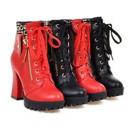 Wholesale Korean Knee High Boots Fashion - Korean version Women boots spring and autumn high-heeled boots with Martin boots waterproof platform British style