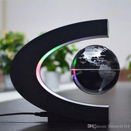 Wholesale Magnetic Levitation Floating Globe World - Novelty C Shape LED World Map Floating Globe Magnetic Levitation Light Antigravity Magic Novel Lamp Birthday Home Decoration Kids Gift