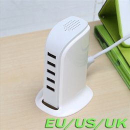 Wholesale multi power port - Real 30W 5V 6A Multi USB Charger Travel Power Tower 5 Ports USB Charger For Samrtphone Tablet PC