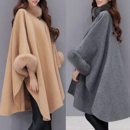 Wholesale Gray Fur Shawl - 2017 Winter Womens Parka Casual Coat Women Fur Coats Woman Clothes Cloak Shawl Jacket (S-3XL)