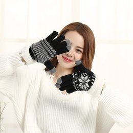 Wholesale gloves for mobile - Fashion Women Warm Winter Snowflake Finger Mittens Thick Gloves Wool Knitted Fleece Screen Touchable Glove For Mobile Phone 10 5sq aa