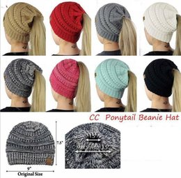 Wholesale Beanie Warmer - Women CC Ponytail Caps CC Knitted Beanie Fashion Girls Winter Warm Hat Back Hole Pony Tail Autumn Casual Beanies Crochet Hats KKA3864
