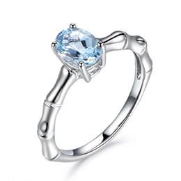anillos de moda color aguamarina Rebajas Moda creativo de bambú simple anillo para las mujeres Natural Aquamarine anillo plateado platino 18 K aleación boda salvaje solitario anillo