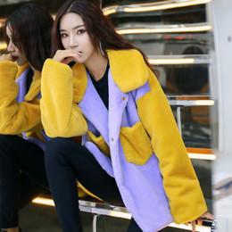 Casacos de inverno para mulheres cor amarela on-line-GTGYFF inverno roxo cor amarela bloco moda falso casaco de pele falso casaco com gola para mulheres casacos térmicos casacos artificiais