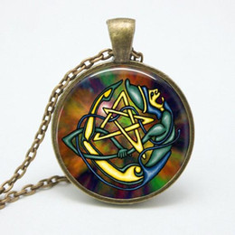 Wholesale wholesale dress plant - Bestselling glass pendant necklace personality colorful pentagram witchcraft Gothic jewelry necklace ftc-n169 party dress jewelry gift