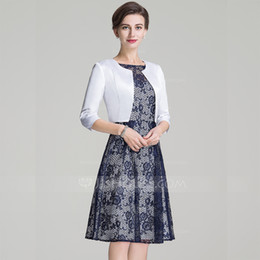 Wholesale Linen Dress Suit - Elegant Women Sleeves Vestidos Madrinha short Mother of the Bride lace Dresses with jacket Godmother 2018 new hot sexy