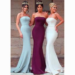 Wholesale Stretch Bridesmaid Dresses - Gorgeous Stretch Satin Strapless Neckline Floor-length Sheath Bridesmaid Dresses With Belt Bridal Party Dresses Mermaid Evening Dresses