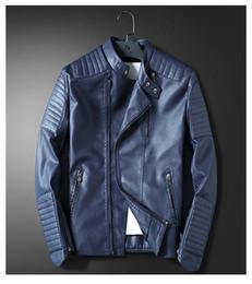 Chaqueta de cuero rojo de la motocicleta de los hombres online-Hombres chaqueta de cuero azul de la motocicleta de los hombres Slim Fit rojo chaqueta de abrigo informal Otoño Invierno Ropa de cuero rompevientos