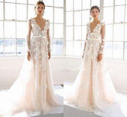 Wholesale Marchesa Bridal Dress - Modest Marchesa 2017 Long Sleeve Wedding Dresses 3D Floral Applique Plus Size Princess Wedding Gowns 2018 Castle Bridal Dress