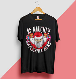 naughty christmas gifts Coupons - Santa Claus T Shirt Gift Naughty Christmas Tree Funny Bells Snowflakes Top Xmascattt windbreaker Pug tshirt