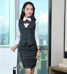 Wholesale Formal Wear Uniforms - Formal Women Vest & Waistcoat Two Piece Skirt and Top Sets Ladies Work Wear Clothes Office Uniform Styles