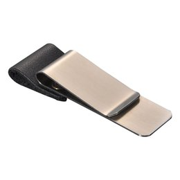 Кожа кожа онлайн-Stainless Steel Money Clip Cash Credit Bank Wallet Clip Leather Button Design