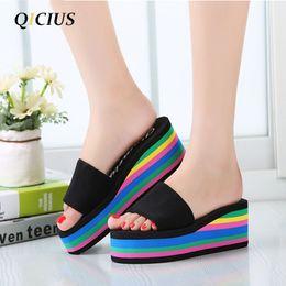 Wholesale Thick Sole Wedge Platforms - QICIUS Women Sandals Platform Rainbow Non-Slip Thick Soled Female Wedge Women Slippers Summer 2017 Beach Slippers T0245