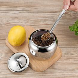 zucchero Sconti Ciotola di zucchero a forma di mela Ciotola di condimento in acciaio inox Condimenti per cucina Contenitore per spezie con coperchio e cucchiaio 459