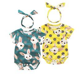 Patrones de cintas para la cabeza del bebé online-Ins Baby Lovely Lovely patrón de conejo mameluco con nudo arco diadema onesies infantil monos niños mono ropa boutique