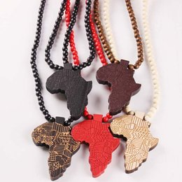 Wholesale letter beads jewelry making - Fashion Wood Made Stylish Africa Map Pendant Hip Hop Beads Long Chain Men Wooden Pendants Necklaces Jewelry Gift S1003