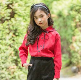 96552596c15 Christmas 2019 Teenager Corduroy Shirts Junior Princess Bow Blouse Big Baby  Girl Autumn Red Tops children clothing