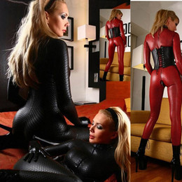 Llevar traje clubwear online-Faux Leather Double Way cremallera Sexy Latex Catsuit ClubWear Erotic Jumpsuit Lencería Bondage Body Night Club Dance wear 2017